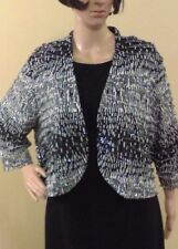 Tanjay Size XL/TG Women's Dressy Cardigan Top, Black/White with sequil Accents.
