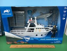 Animal Planet Great White SHARK RESEARCH BOAT with cage, (2) Sharks, & Diver MIB