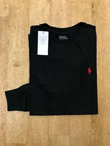 Ralph Lauren Men's Custom Fit Long Sleeve Crew Neck T-Shirt - Black - XL