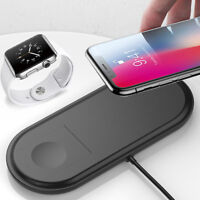 2 en 1 Qi sans fil chargeur Pad station de charge pour Watch iPhone X 8 6H