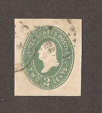 1887 UNITED STATES ENVELOPE EMBOSSED STAMP 2 CENT GREEN USED