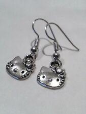 Earrings Hello Kitty with Silver Tibetan
