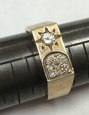 10k Gold Diamonds Victorian Moon Star Sun Ring 5.17g 3.32dwt Hallmark Size 7.75