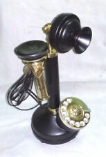 ANTIQUE VINTAGE-LOOK-BLACK-BRASS-CANDLESTICK-TELEPHONE-ROTARY DIAL