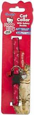 Hello Kitty Cat Collar with Safety Buckle/Bell and Charm - Red and White #8D294