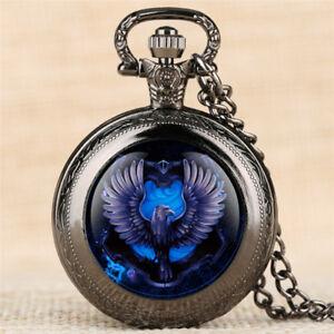 Steampunk Retro Eagle Pocket Watch Necklace Chain Pendant Gift Quartz Movement