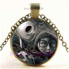 Vintage Skull Jack and Sally Cabochon Glass Bronze Chain Pendant Necklace