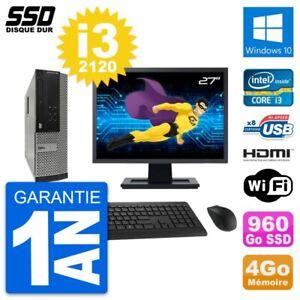 """PC DELL 390 SFF Screen 27 """" Intel i3-2120 RAM 4Go SSD 960Go HDMI Windows 10 Wifi"""