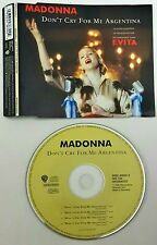 Madonna ‎– Don't Cry For Me Argentina  Cd Single Singolo