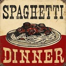 Spaghetti Dinner Italiener Rastaurant Werbung Vintage Retro Blechschild Schild