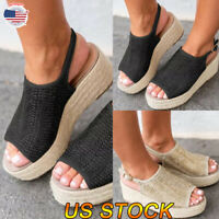 Women's Summer Beach Sandals Platform Buckle Espadrilles Ladies Round Shoes USA