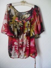 Monsoon Ladies Short Batwing Sleeves Top, Drawstring, Size Medium