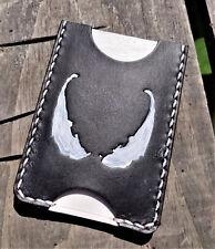 Handmade MINUS Minimalist Leather Wallet Black White Venom