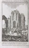 Rare Gravure 1789 Démolition de la Bastille Révolution de Paris 15 Juillet 1789