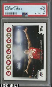 2008-09 Topps #23 LeBron James Chalk Toss Cleveland Cavaliers PSA 9 MINT
