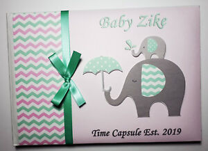 Personalised Elephants unisex Baby Shower guest book, Baby Shower album, gift