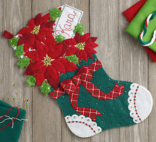 "Bucilla Christmas Poinsettia 18"" Christmas Stocking Felt Applique Kit, 86705"