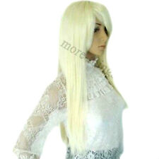 Pure Snowy White Heat Resistant Long Straight Skin Top Wig Cosplay Wigs