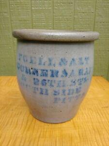 Antique Pittsburgh Pennsylvania Merchant Stoneware Crock
