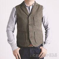 HOT Mens British Style Wool Blend Tweed Formal Dress Lapel Vest Waistcoat S-6XL