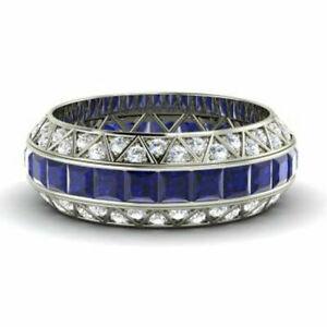 3.50 Carat Real Diamond Blue Sapphire Beautiful Ring 14K White Gold Size M N O P
