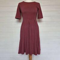 SEASALT Orange Striped Jersey Day Dress (UK Size 8) Midi Stretch Cotton