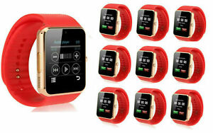 10 Pack Red and Gold GT08 Touch Screen Bluetooth SmartWatch For Android IOS
