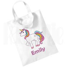 Personalised Children's Girls White Cotton Mini Tote Bag- Book Bag 'Unicorn' Bag