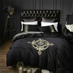 Black Egyptian Cotton Embroidery Bedding Sets Fitted Sheet Duvet Cover 4pcs Set