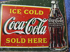 Coca Cola Bottle Old Look Advertising Tin Metal Sign Green NEW Pop Soda