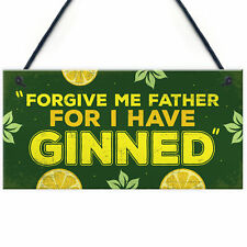 Novelty GIN Plaque Funny Alcohol Sign Home Bar Pub Man Cave Gin & Tonic Gift