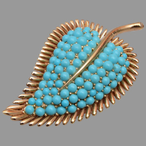 Beautiful Vintage Leaf Brooch Pin is Signed with 10K Yellow Gold Over 5.55 Carat