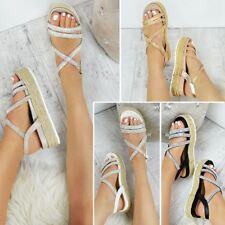 Womens Ladies Flatform Sandals Diamante Espadrilles Summer Platform Shoes Size