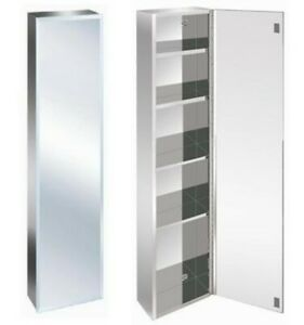 Stainless Steel 1200cm Tall Bathroom Mirror Wall Cabinet storage Bevelled Edge