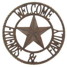 Rustic Metal Star Welcome Friends & Family Sign Western Wall Decor