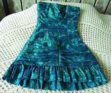 Vestido de fiesta corto por charas Talla 8 Verde Azulado Azul Bordado Floral Brillo & Lentejuelas