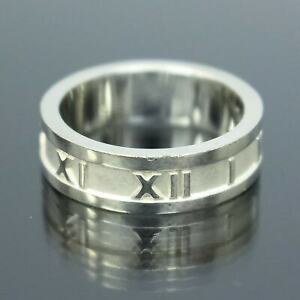 TIFFANY & CO. Atlas Roman Numeral Band Ring Sterling Silver 925 Size 6.5