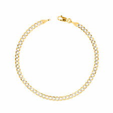 14K Yellow Gold Solid 4mm Pave Diamond Cut Curb Cuban Chain Bracelet Anklet 9""