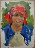 Russian Ukrainian Soviet Oil Painting female portrait realism Girl red kerchief