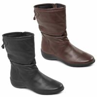 Padders REGAN Womens Ladies Smooth Genuine Leather Wide Fit (E) Zip Calf Boots