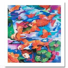 """""""Frolicking Koi Fish"""" by Linnea Pergola Signed Canvas"""
