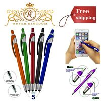 Universal Stylus With Retractable Ball Point Pen Phones Tablets Assorted 5 Pack