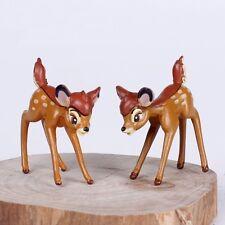 2 pcs Fairy Garden Ornament Cute Miniature Deer Figurine Cute Bambi Figurine