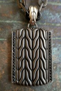 John Hardy Silver and Black Sapphire dual sided Dog Tag Pendant and Chain