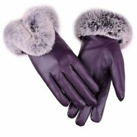 Women Warm Winter Leather Gloves Touch Screen Fashion Luxury Thick Fur Mittens