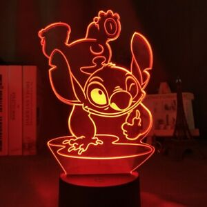 LED Lilo Stitch Touch 3D Acrylic Table Desk Lamp 7 Colour Night Light KIDS Gift