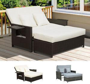Polyrattan Lounge-Sofa 2-Sitzer Set Gartenliege Hocker Grau/Braun
