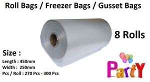 8 Rolls Produce Bag Roll Bags Gusset Freezer Clear Green Storage Food Meat Syd