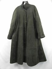 French Creek 100% Leather Suede Shearling Sherpa Long Coat Dark Green Womens M-L