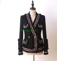 Occident Tweed jacket Womens woolen coat tassel pearl button Jacket spring Autum